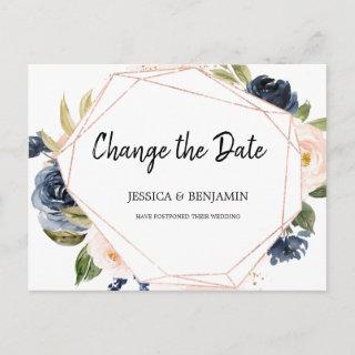 Navy Blush Blossom Floral Change the Date Postcard