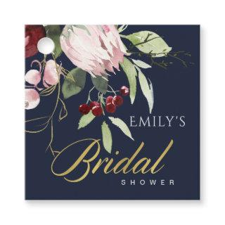 NAVY BLUSH BURGUNDY PROTEA FLORAL BRIDAL SHOWER FAVOR TAGS