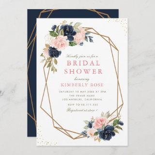 Navy & blush floral geometric bridal shower Invitations