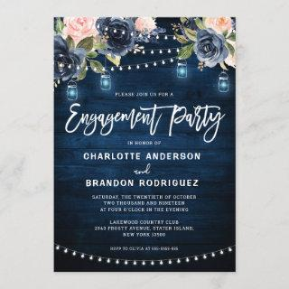 Navy Blush Floral Rustic String Light Engagement Invitations