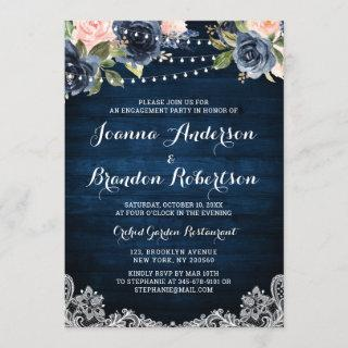 Navy Blush Floral String Light Engagement Party Invitations