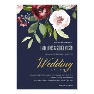 NAVY BLUSH PINK BURGUNDY PEONY FLORAL WEDDING INVITATION
