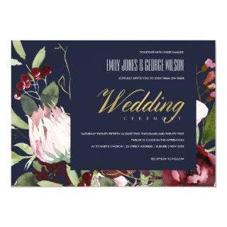 NAVY BLUSH PINK BURGUNDY PROTEA FLORAL WEDDING INVITATION