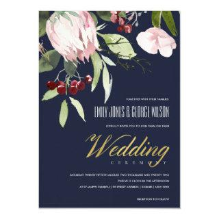 NAVY BLUSH PINK BURGUNDY PROTEA FLORAL WEDDING Invitations