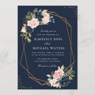 Navy & blush watercolor floral geometric wedding Invitations