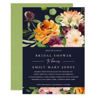 NAVY BLUSH YELLOW ORANGE FLORAL BRIDAL SHOWER Invitations