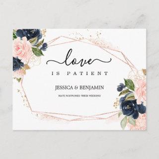 Navy Brush Flora Frame Love is Patient Posted Postcard