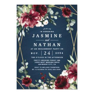 Navy Burgundy Blush Gold Floral Engagement Party Invitations