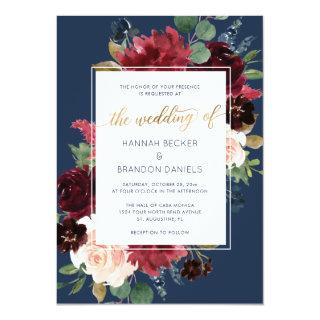 Navy Burgundy Floral Wedding Invitations Gold Foil