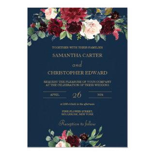 Navy burgundy gold blush pink floral wedding Invitations