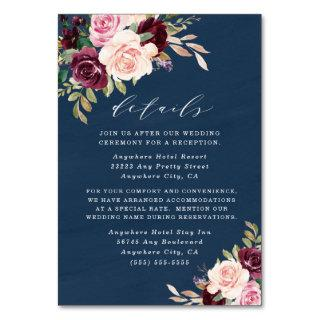Navy Burgundy Gold Blush Wedding Enclosure Cards