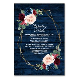Navy Burgundy Gold Pink Wedding Enclosure Cards