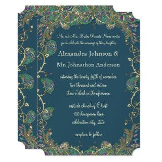 Navy Copper and Green Paisley Peacock Wedding Invitation