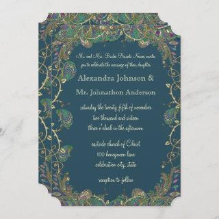 Navy Copper and Green Paisley Peacock Wedding Invitations
