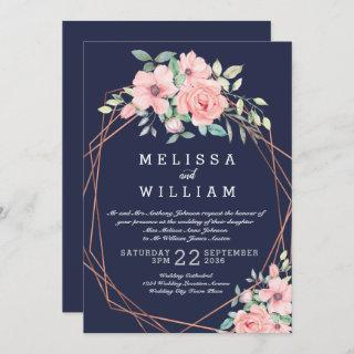 Navy Copper Geometric Floral Watercolor Wedding Invitations