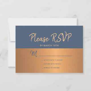 Navy copper trendy typography wedding rsvp