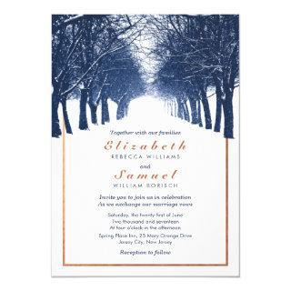 Navy Copper Winter Trees Avenue Wedding Invitation