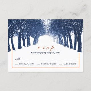 Navy Copper Winter Trees Avenue Wedding RSVP Card