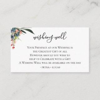 Navy Coral Botanical Wedding Wishing Well Enclosure Card