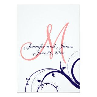 Navy Coral Swirl Monogram Wedding Invitations