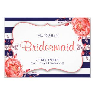 Navy & Coral Will You Be My Bridesmaid Cards