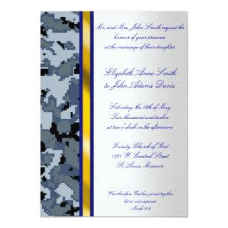 Navy Digital Camouflage Wedding Invitations