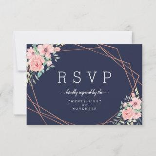 Navy Floral Geometric Copper Meal Choice RSVP Card
