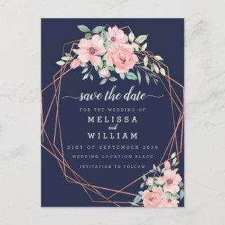 Navy Geometric Copper Floral Wedding Save the Date Announcement Postcard