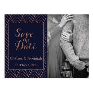 Navy Gold Art Deco Photo Save the Date Postcard