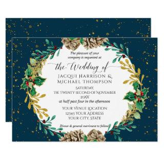 Navy Gold Christmas Pine Cone Greenery Wedding Invitations