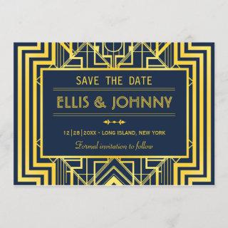 Navy & Gold Geometric Save the Date