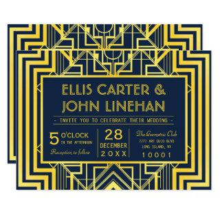 Navy & Gold Geometric Wedding Invitations