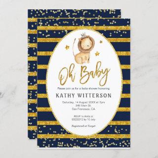 Navy Gold Lion Oh Baby Baby Shower