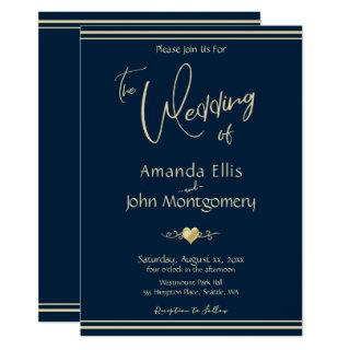 Navy & Gold  - Modern Wedding Invitations