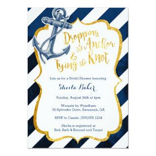 Navy & Gold Nautical Bridal Shower Invitations