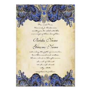 Navy & Gold Paisly Peacock Wedding Invitation