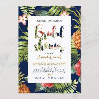 Navy & Gold | Tropical Bridal Shower Invitation