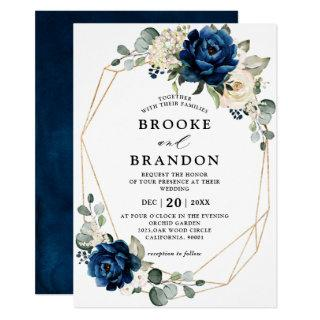 Navy Gold White Champagne Ivory Geometric Wedding Invitations