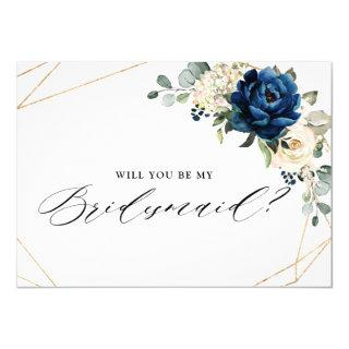 Navy Gold White Ivory Will You Be My Bridesmaid Invitations