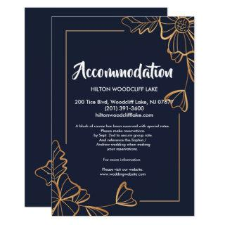 Navy & golden floral   accommodate Enclosure Invitation