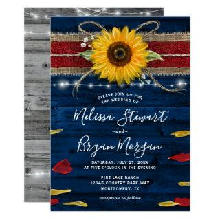Navy Gray Red Rose Sunflower Rustic Wood Wedding Invitations
