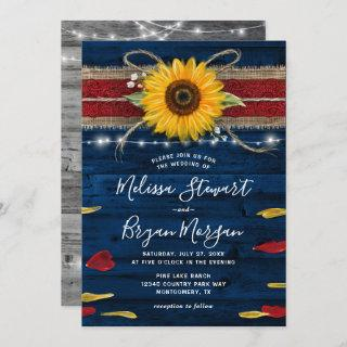 Navy Gray Red Rose Sunflower Rustic Wood Wedding Invitation