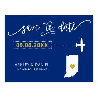 Navy Indiana Wedding Save the Date Map Postcard