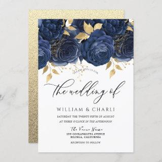 Navy Indigo Blue & Gold Floral Wedding Invitation