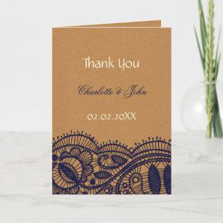 Navy Lace and Kraft Paper Wedding Thank You Card