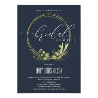 NAVY LEAFY GREEN FOLIAGE WATERCOLOR BRIDAL SHOWER INVITATION