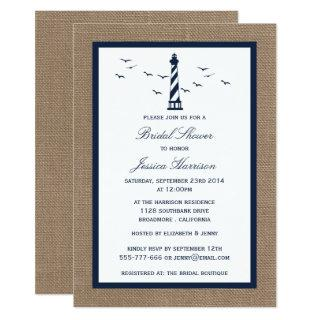 Navy Lighthouse On Burlap Nautical Bridal Shower Invitations