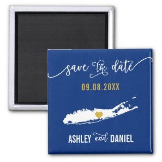 Navy Long Island Wedding Save the Date Map Magnet