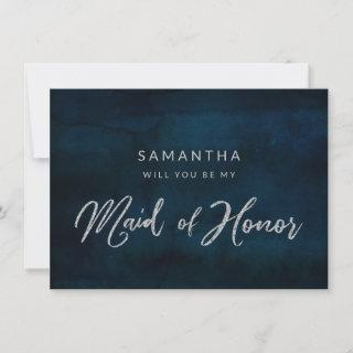 Navy Luster Blue Be My Maid of Honor Proposal Card