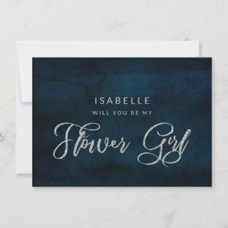 Navy Luster Blue Be our Flower Girl Proposal Card